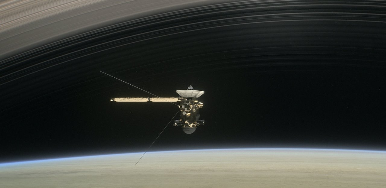 Cassini in orbit above the ringed planet Saturn image credit NASA