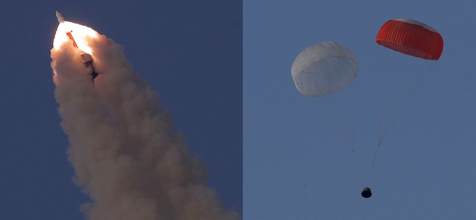 Left: the Crew Escape System and the crew module soar into the sky. Right: the crew module with parachutes deployed descends to the sea.