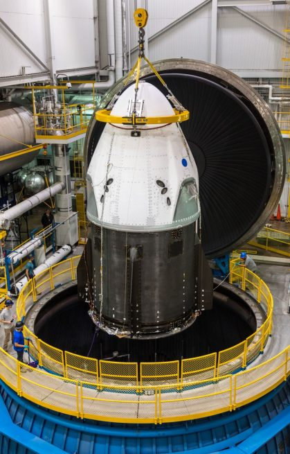 SpaceX's Crew Dragon spacecraft is lowered into a vacuum test chamber at NASA's Plum Brook Station. Photo credit: SpaceX