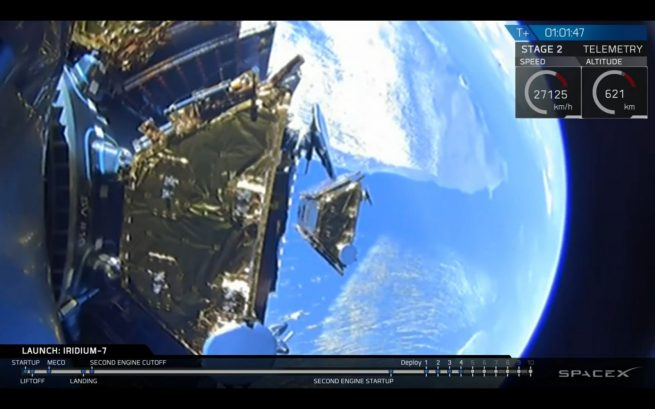 Iridium-7 spacecraft No. 4 is deployed. This flight delivered the 56th-65th Iridium NEXT satellites into orbit for Iridium Communications. Photo Credit: SpaceX webcast