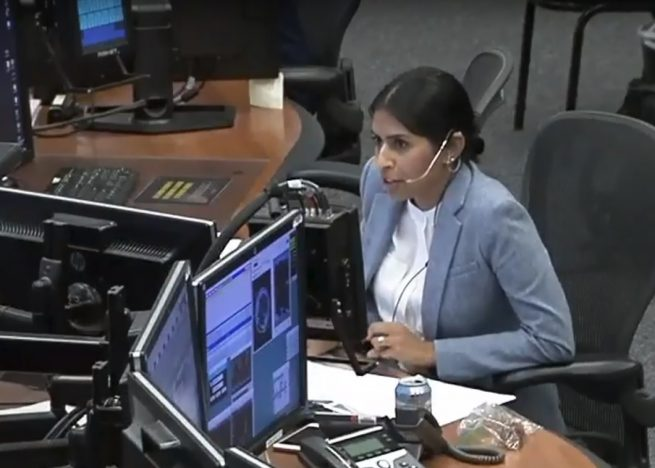 CapCom Pooja Jesrani congratulates Expedition 56 for the 30th visiting vehicle capture of the International Space Station program. Photo Credit: NASA TV