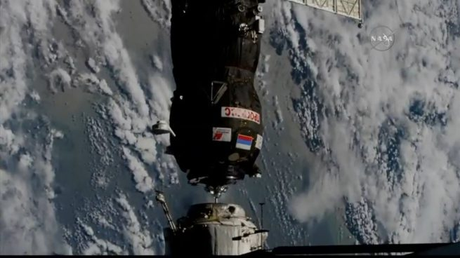 Contact confirmed! At 9:31 p.m. EDT (00:31 GMT July 10), Progress MS-09 docked with the Pirs module at the International Space Station. Photo Credit: NASA TV