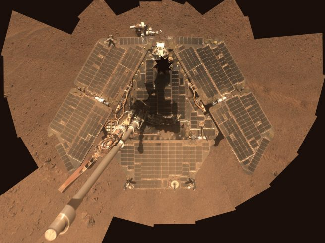View of Opportunity's solar panels in 2014. Image Credit: NASA / JPL-Caltech / Cornell Univ./Arizona State Univ.