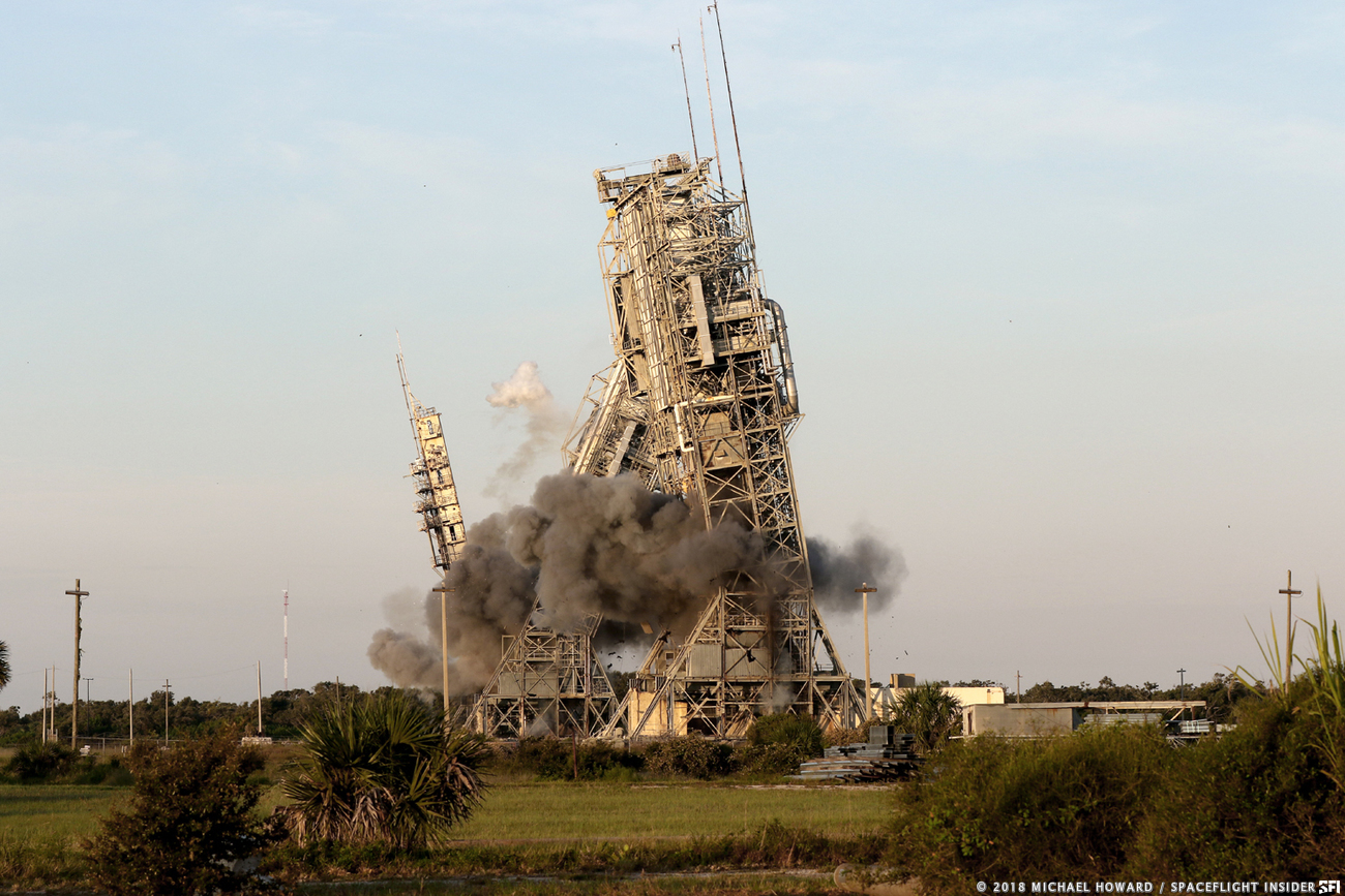 Towers and support facilities that supported the flights of some 325 rocket launches were demolished on Thursday July 12, 2018. Photo Credit: Mike Howard / SpaceFlight Insider