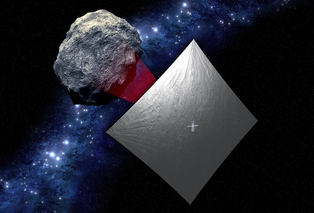 Artist's concept of NEA Scout spacecraft exploring a near-Earth asteroid. Image Credit: NASA