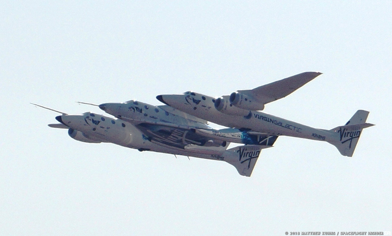 The SpaceShip Company and Virgin Galactic conducted a test flight of VSS Unity on Thursday, July 26, 2018. Photo Credit: Matthew Kuhns / SpaceFlight Insider