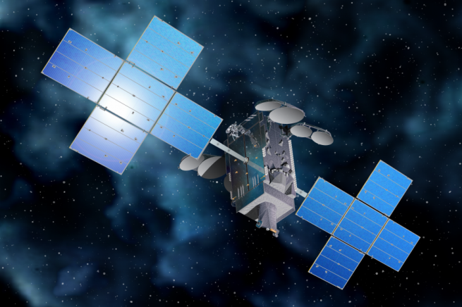 An artist's rendering of the Telstar 19 VANTAGE satellite in orbit. Image Credit: SSL