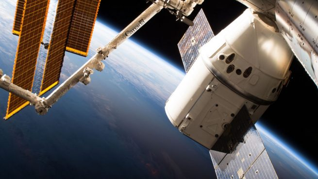 The CRS-15 Dragon capsule spent about a month attached to the Earth-facing port of the Harmony module. Photo Credit: NASA