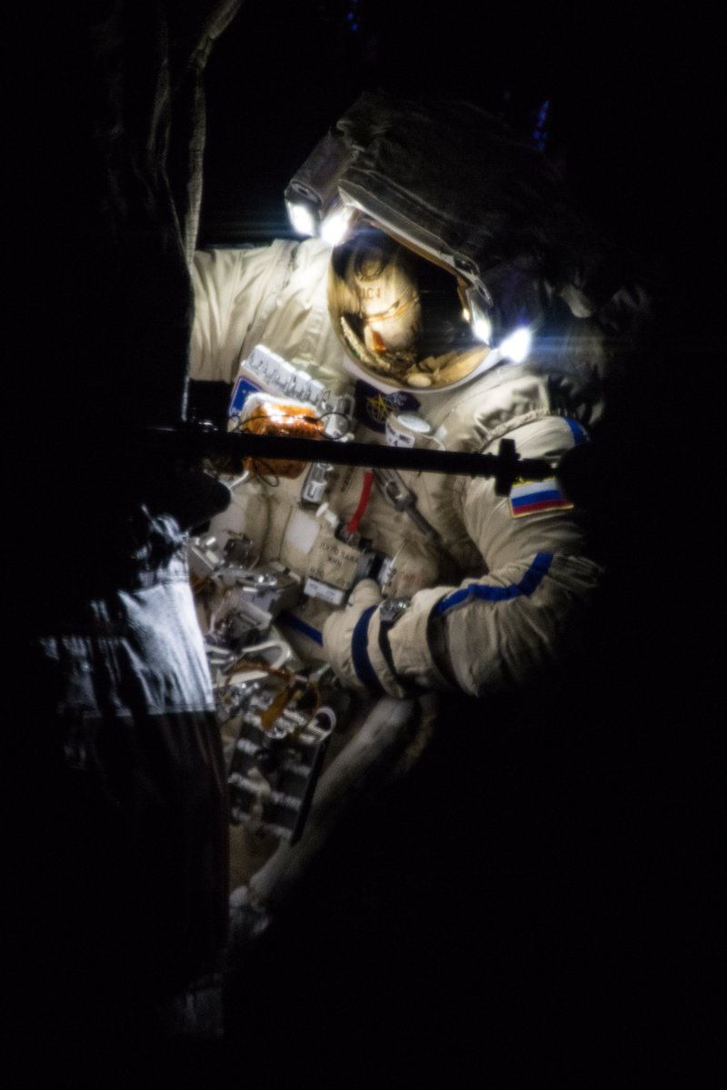 Sergey Prokopyev during Russian EVA-45. Photo Credit: Alexander Gerst / ESA