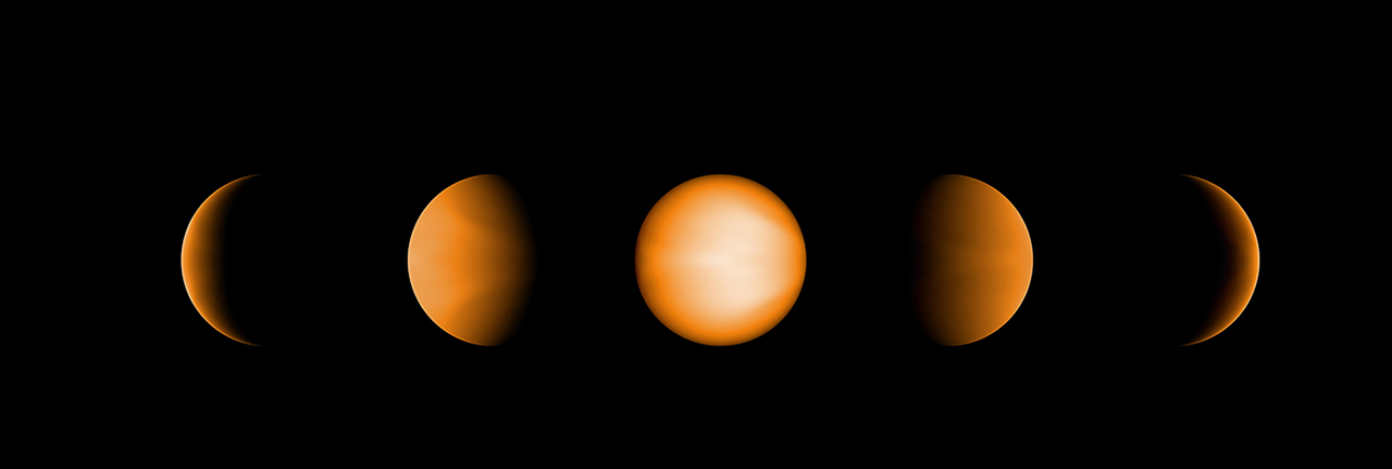 These simulated views of the ultrahot Jupiter WASP-121b show what the planet might look like to the human eye from five different vantage points, illuminated to different degrees by its parent star. The images were created using a computer simulation being used to help scientists understand the atmospheres of these ultra-hot planets. Ultrahot Jupiters reflect almost no light, rather like charcoal. However, the daysides of ultrahot Jupiters have temperatures of between 3600°F and 5400°F (2000°C and 3000°C), so the planets produce their own glow, like a hot ember. The orange color in this simulated image is thus from the planet's own heat. The computer model was based on observations of WASP-121b conducted using NASA's Spitzer and Hubble space telescopes. Image Credit: NASA/JPL-Caltech/Vivien Parmentier/Aix-Marseille University (AMU)