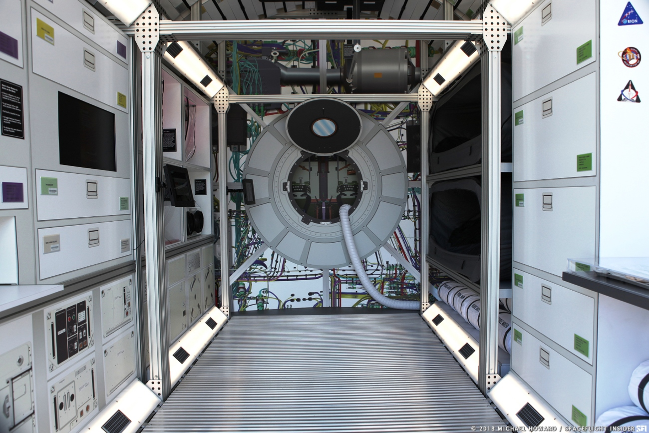Lockheed Martin has donated a mock up of a deep space habitat that visitors can walk through to gain a better idea of the living conditions astronauts have to go through. Photo Credit: Michael Howard / SpaceFlight Insider