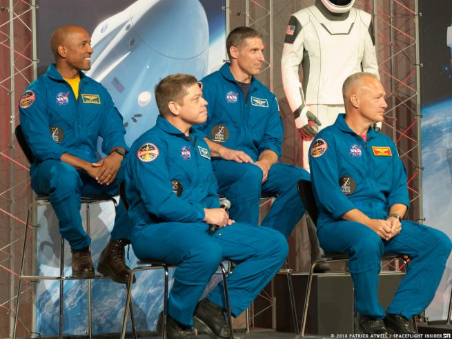 Top row, from left to right: Victor Garber, Michael Hopkins. Bottom row, from left to right: Robert Behnken, Douglas Hurley. Photo Credit: Patrick Atwell / SpaceFlight Insider