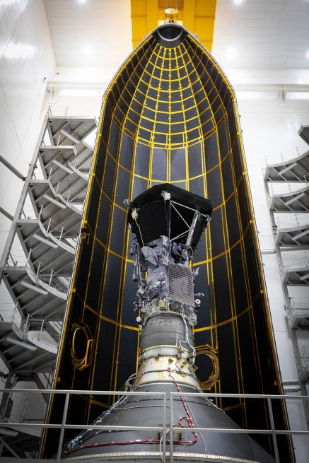 The Parker Solar Probe was encapsulated on July 16, 2018. Photo Credit: NASA