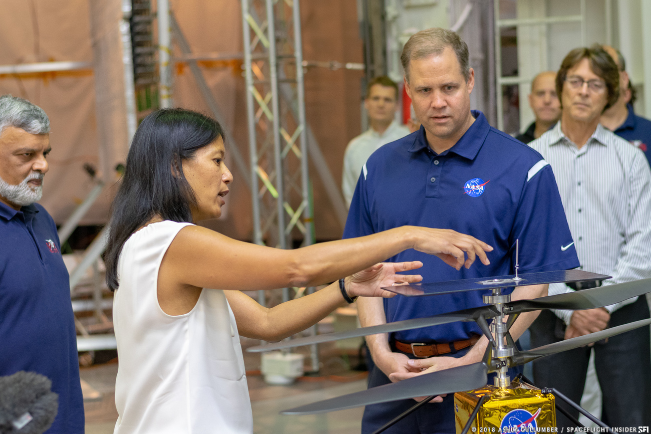 NASA Administrator Jim Bridenstine reviews the Mars Helicopter during a Aug. 27 visit to the agency's Jet Propulsion Laboratory in Pasadena, California. Photo Credit: Ashly Cullumber / SpaceFlight Insider