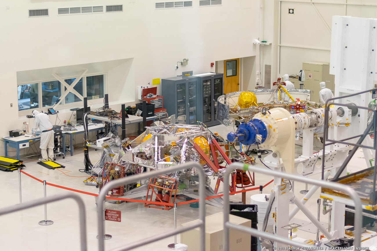 Components designed to safely propel the Mars 2020 Rover to the Red Planet, located on the ground of the spacecraft mounting facility. Photo credits: Ashly Cullumber / SpaceFlight Insider