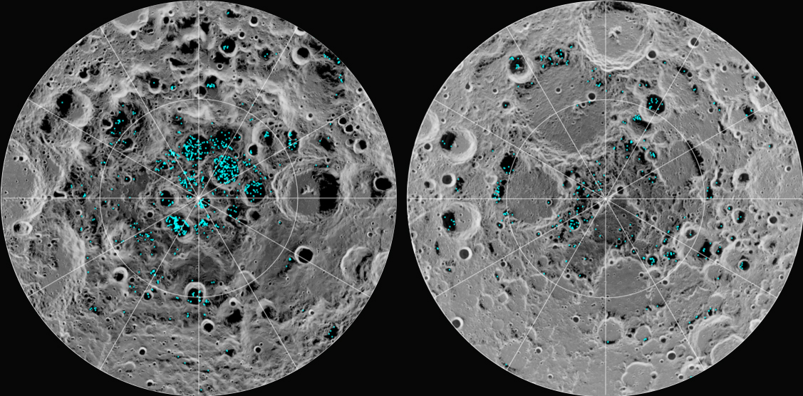 the Moon's south pole (left) and north pole (right), detected by NASA's Moon Mineralogy Mapper instrument. Blue represents the ice locations plotted over an image of the lunar surface, where the gray scale is to surface temperature (darker colder areas and lighter shades indicating warm zones). The ice is concentrated at the darkest and coldest locations, in the shadows of craters. Image Credit: NASA