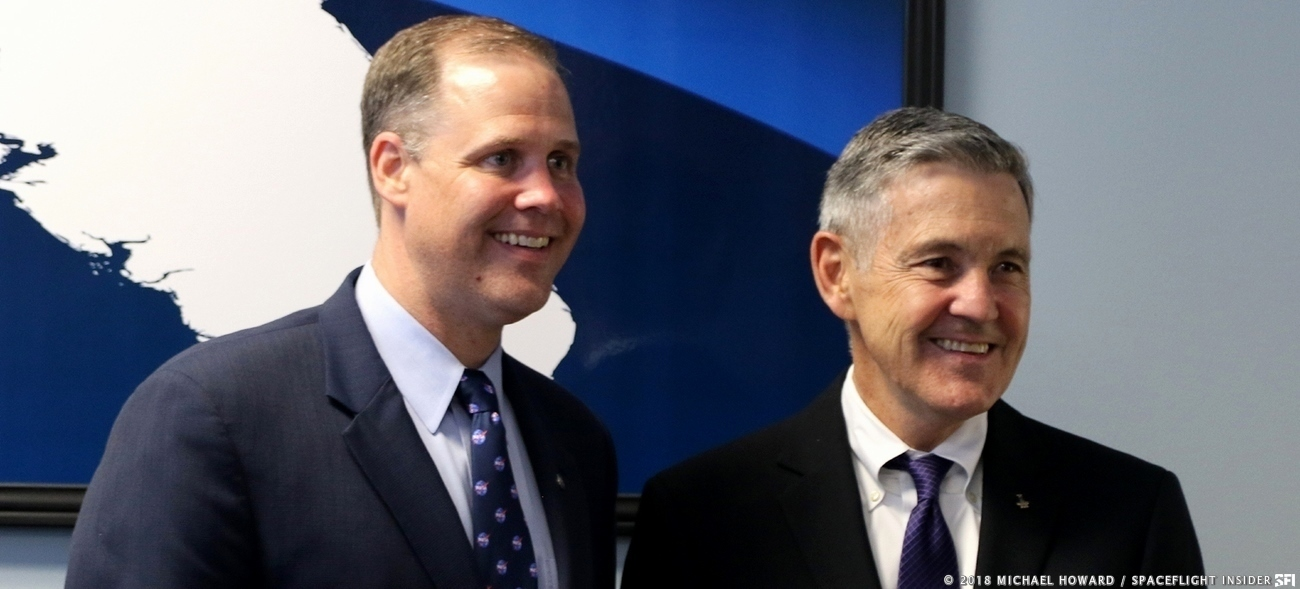 NASA Administrator Jim Bridenstine (left) and the Director of NASA's Kennedy Space Center, Robert Cabana (right). Photo Credit: Michael Howard / SpaceFlight Insider