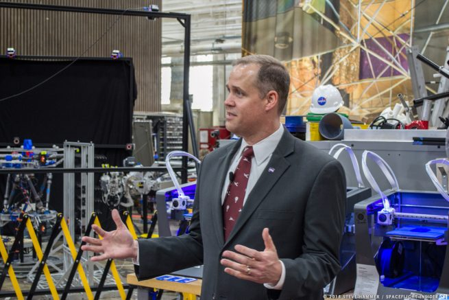 Bridenstine expressed his excitement over an array of projects that LaRC was working on. Photo Credit: Steve Hammer / SpaceFlight Insider