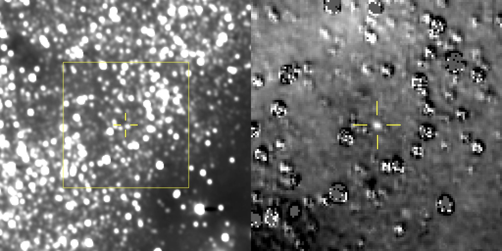 The figure on the left is a composite image produced by adding 48 different exposures from the New Horizons LORRI instrument, each with an exposure time of 29.967 seconds. Ultima Thule is seen at the center of the yellow box, just above and left of a nearby star. The figure on the right is a star-subtracted image to better show the Kuiper Belt Object. Photo Credit: NASA / JHUAPL / SwRI