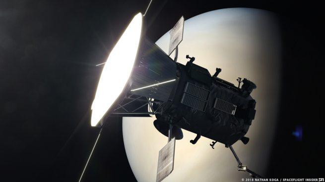 An artist's rendering of Parker Solar Probe flying by Venus. Image Credit: Nathan Koga / SpaceFlight Insider