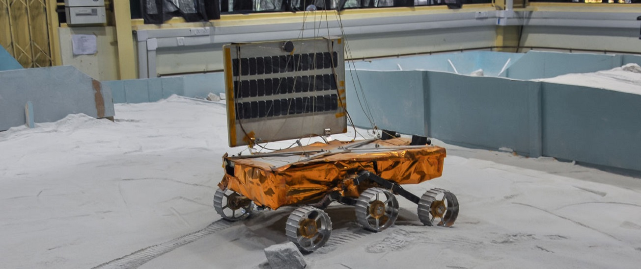 A model of Chandrayaan-2's rover undergoing tests.