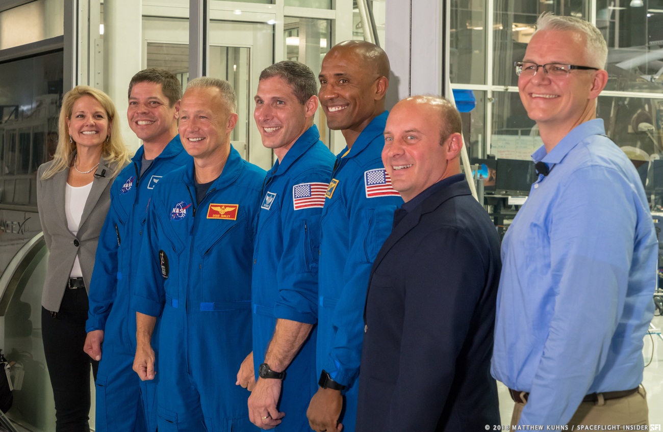 From left-to-right: SpaceX's COO and President Gwynne Showell, NASA astronauts Robert Behnken, Douglas Hurley Michael Hopkins and Victor Glover. They were joined by former astronaut Garrett Reisman (who now works for SpaceX as a senior engineer) along with paceX's senior advisor for human spaceflight; and SpaceX's Director of Crew Mission Management Benji Reed. Photo Credit: Matthew Kuhns / SpaceFlight Insider