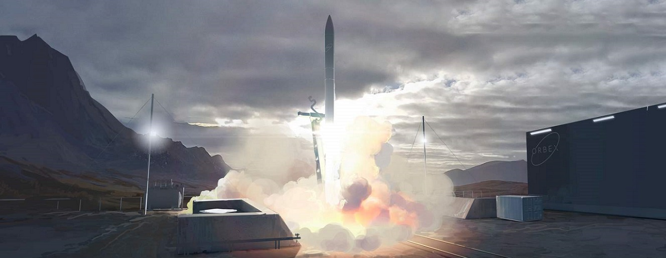 Artist's impression of a rocket lifting off from the Sutherland spaceport.