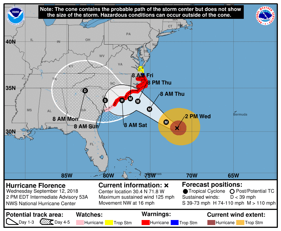 An advisory for Hurricane Florence as of 2 p.m. EDT (18:00 GMT) Sept. 12, 2018. Image Credit: National Hurricane Center