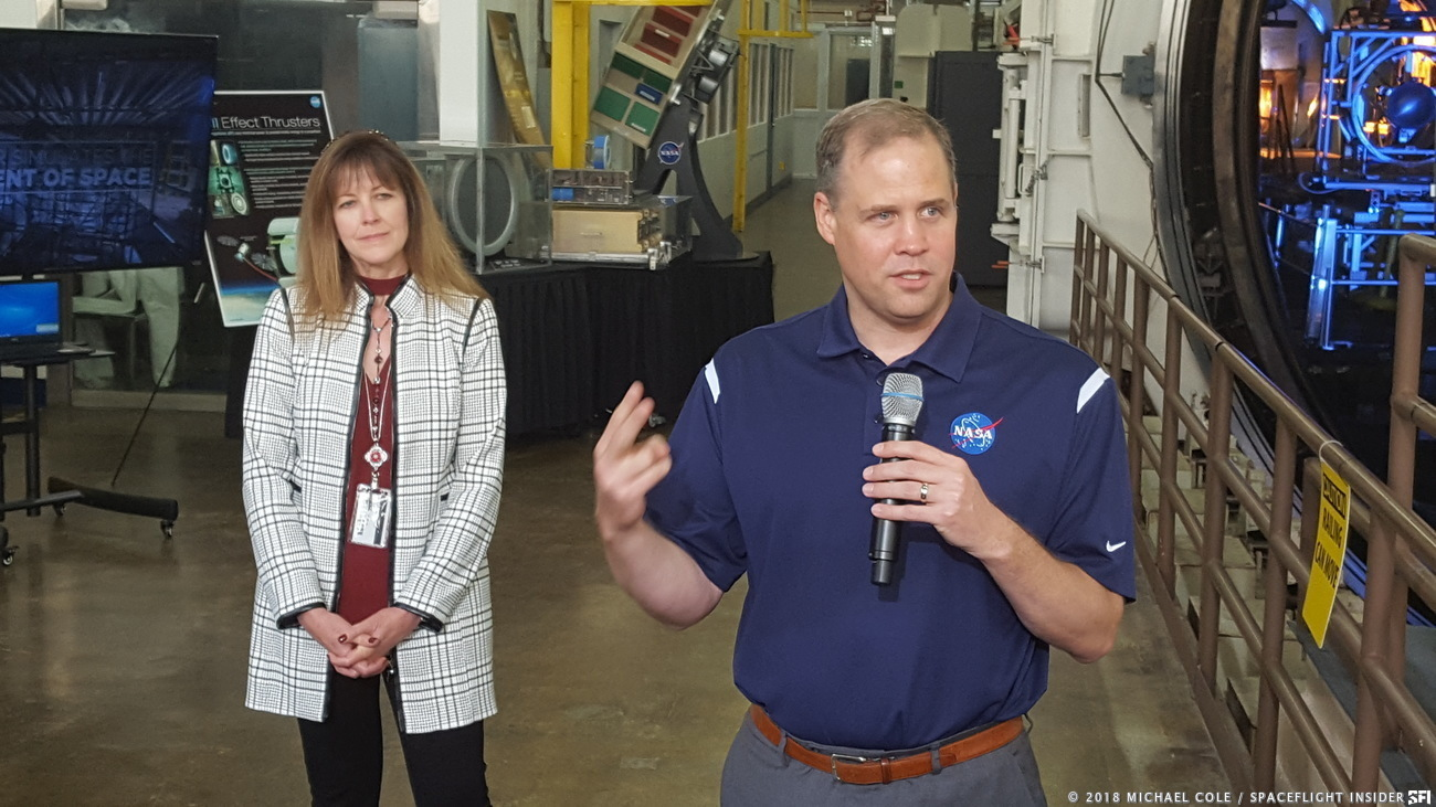 NASA Administrator Jim Bridenstine addresses the media during his visit to the NASA Glenn Research Center in Cleveland, Ohio, on Sept. 19, 2018. On the left is NASA Glenn Director, former astronaut Dr. Janet Kavandi. Photo Credit: Michael Cole / SpaceFlight Insider