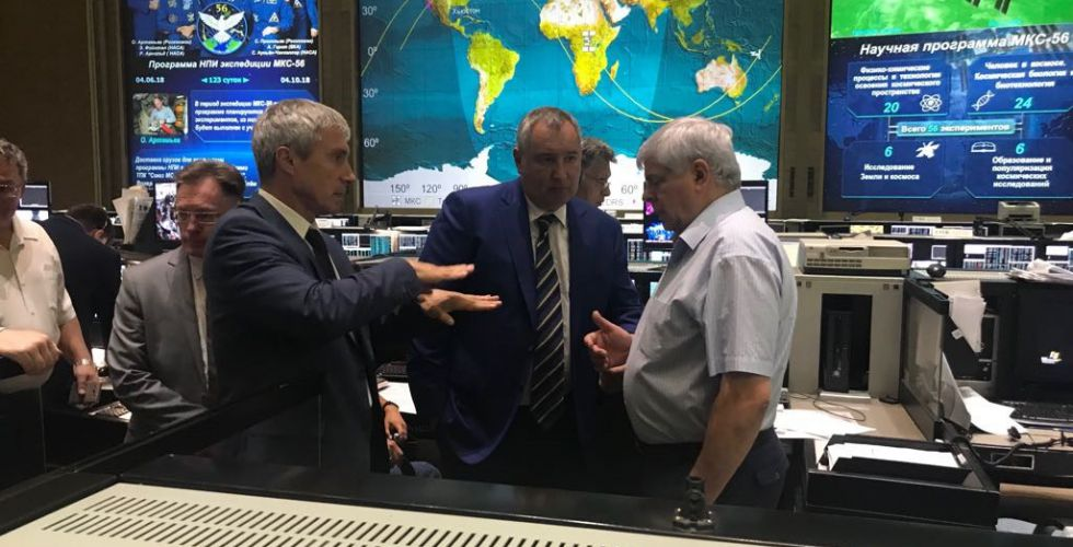 Cosmonaut Sergei Krikalev, left, and Roscosmos Director General Dmitry Rogozin, center, discuss the Aug. 30 leak at the Russian mission control center in Korolev, Russia. Photo Credit: Roscosmos