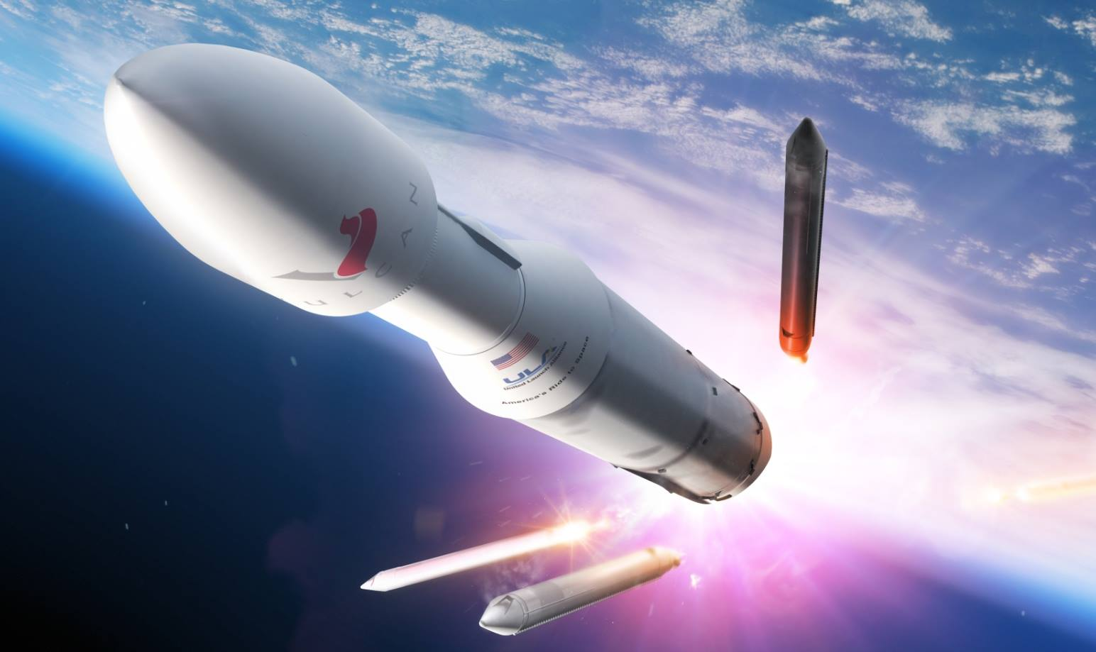 An artist's depiction of the Vulcan rocket rising up from Earth. Image Credit: United Launch Alliance