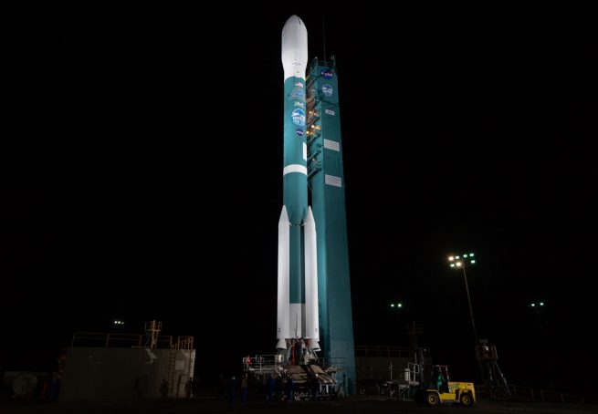 The Delta II rocket shortly after tower rollback at Vandenberg Air Force Base's Space Launch Complex 2 in California. Photo Credit: Bill Ingalls / NASA