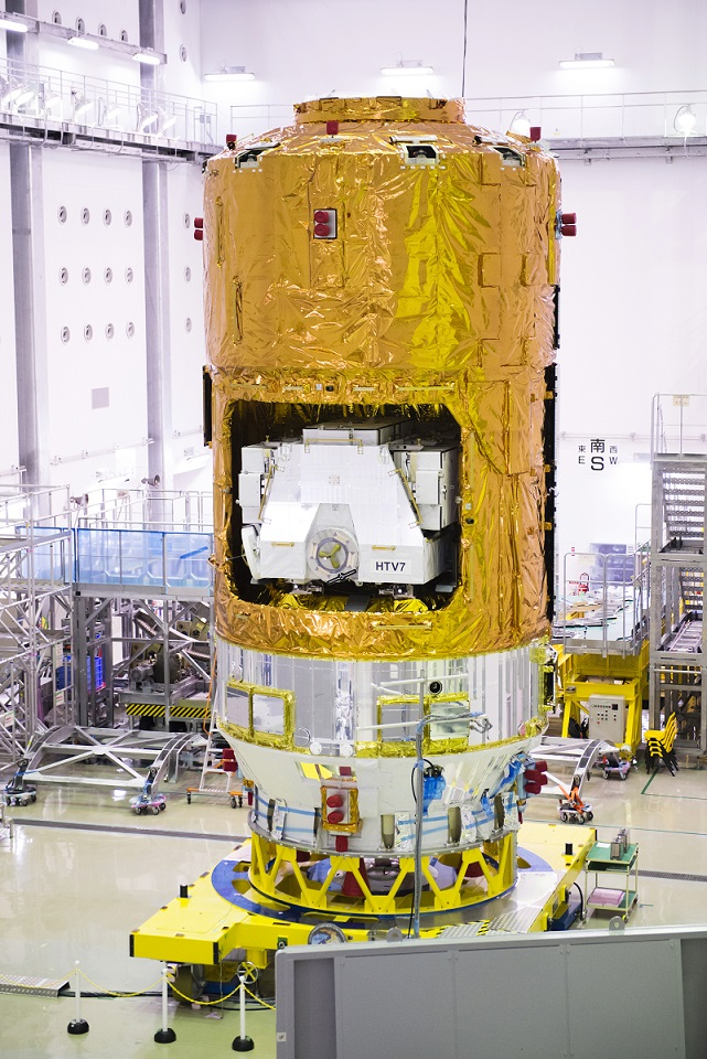 HTV-7 at the Second Spacecraft Test and Assembly Building located at Tanegashima Space Center in Japan.