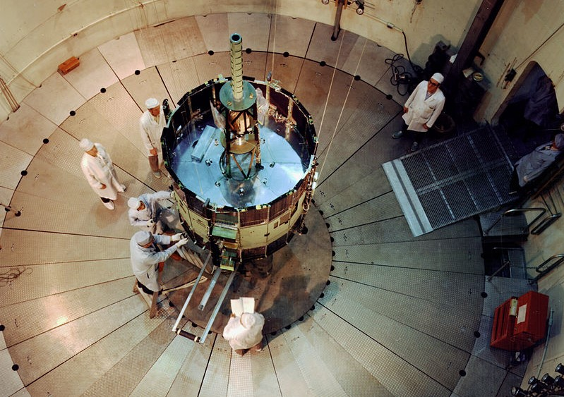 The ISEE 3/ICE probe during testing before launch. Photo Credit: NASA