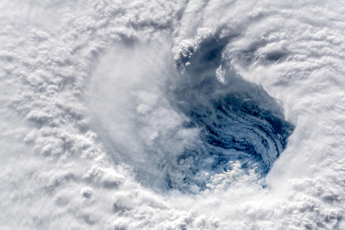 A close-up view of the eye of Hurricane Florence