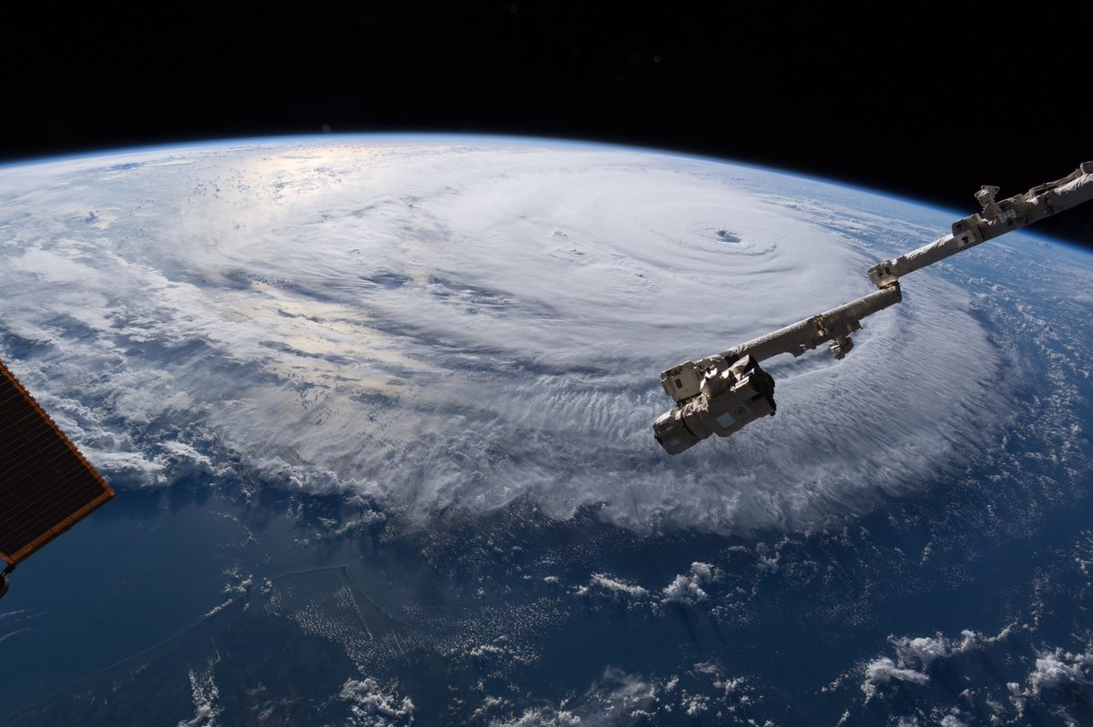 The outer bands of Hurricane Florence begin to approach the East Coast. Photo Credit: Alexander Gerst / ESA