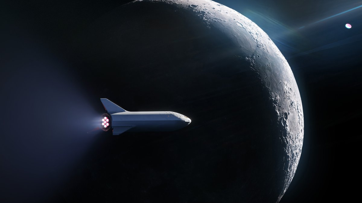 An artist's rendering of SpaceX's Big Falcon Spaceship (the upper part of the Big Falcon Rocket), flying by the Moon. Image Credit: SpaceX