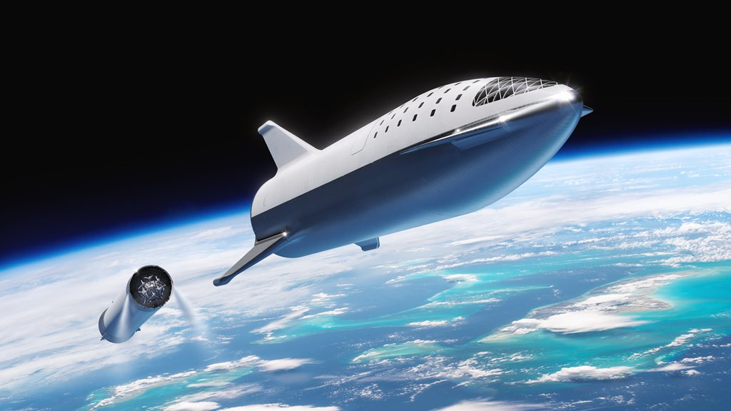 The latest version of the BFR design shows the upper stage, known as the Big Falcon Spaceship, with large control surfaces to aid its reentry process. Image Credit: SpaceX