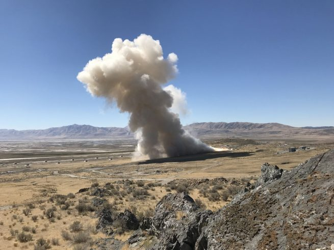 Today's test fire lasted for about 110 seconds and checked out the GEM 63 under cold conditions (40 degrees Fahrenheit). Photo Credit: Northrop Grumman