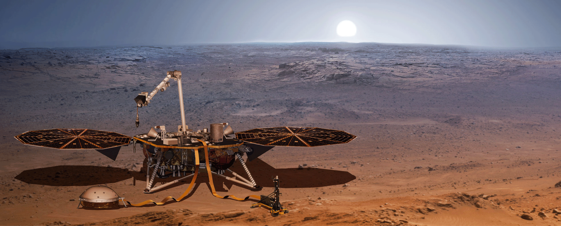 The InSight lander on the surface of the Red Planet. Image Credit: NASA