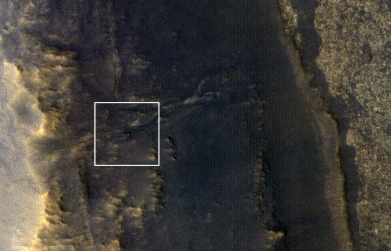 NASA's Opportunity rover appears as a blip in the center of this square. This image taken by HiRISE, a high-resolution camera onboard NASA's Mars Reconnaissance Orbiter, shows the dust storm over Perseverance Valley has substantially cleared. Image Credit: NASA/JPL-Caltech/Univ. of Arizona