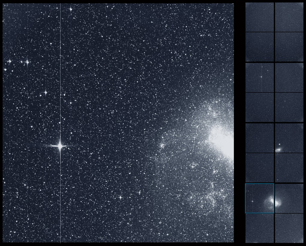 "TESS took this snapshot of the Large Magellanic Cloud, right, and the bright star R Doradus, left, with just a single detector of one of its cameras. The frame is part of a swath of the southern sky TESS captured in its ""first light"" science image as part of its initial round of data collection. Image Credit: NASA/MIT/TESS"