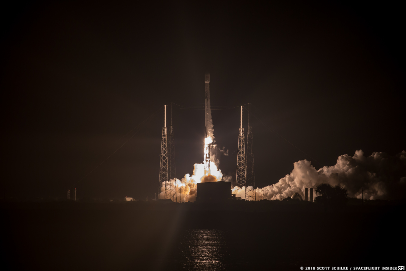A SpaceX Falcon 9 rocket launches the Telstar 18 VANTAGE satellite into orbit from Cape Canaveral Air Force Station's Space Launch Complex 40 in Florida. Photo Credit: Scott Schilke / SpaceFlight Insider