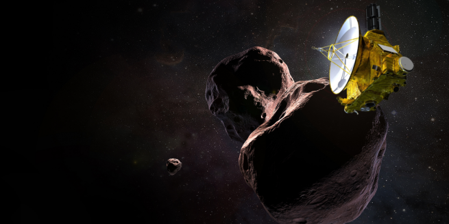 An illustration of New Horizons spacecraft flying by Kuiper Belt object Ultima Thule. Image Credit NASA / JPL / JHUAPL