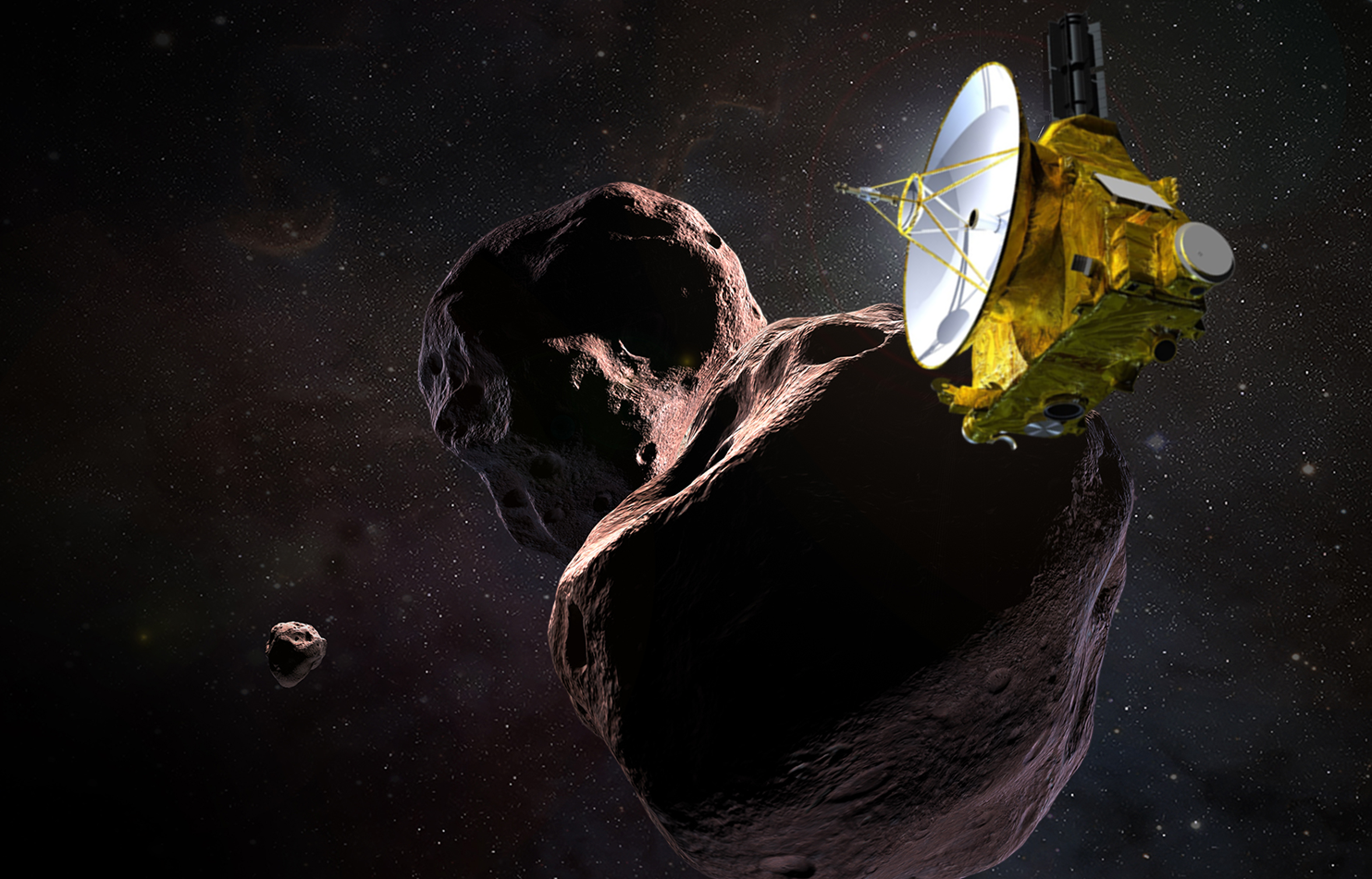 An artist's illustration of New Horizons flying by the Kuiper Belt Object Ultima Thule. Image Credit NASA / JPL / JHUAPL