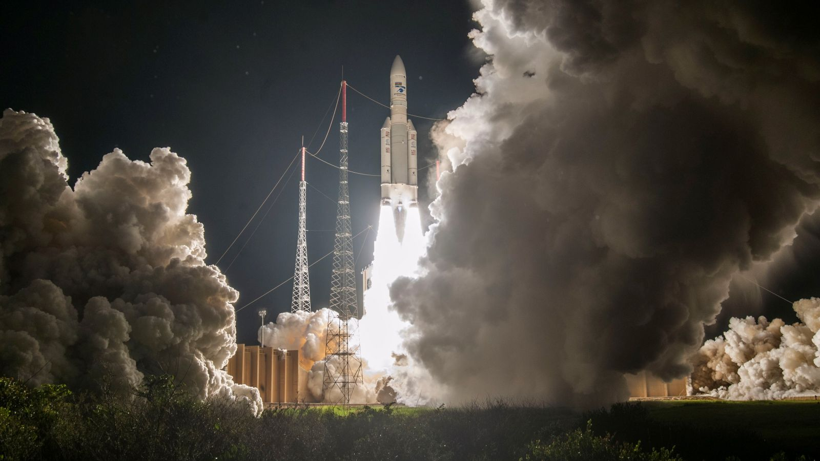 Arianespace's 100th Ariane 5 rises off the pad on Sept. 25, 2018. Photo Credit: Arianespace