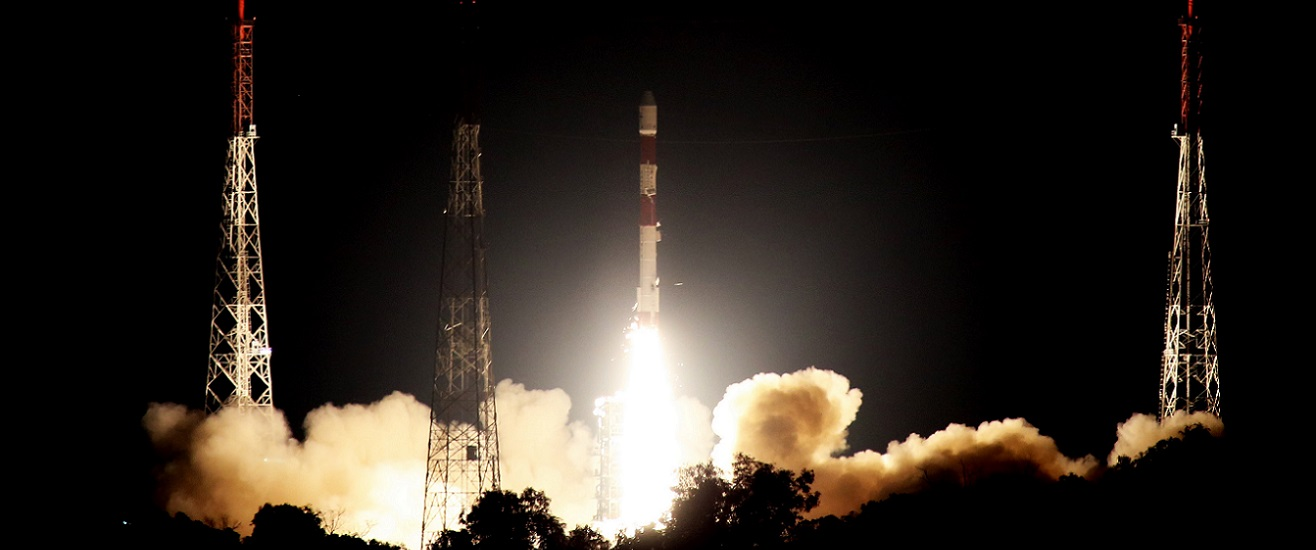 The PSLV-C42 mission launches from the Satish Dhawan Space Centre in Sriharikota on Sept. 16, 2018. Photo Credit: ISRO.