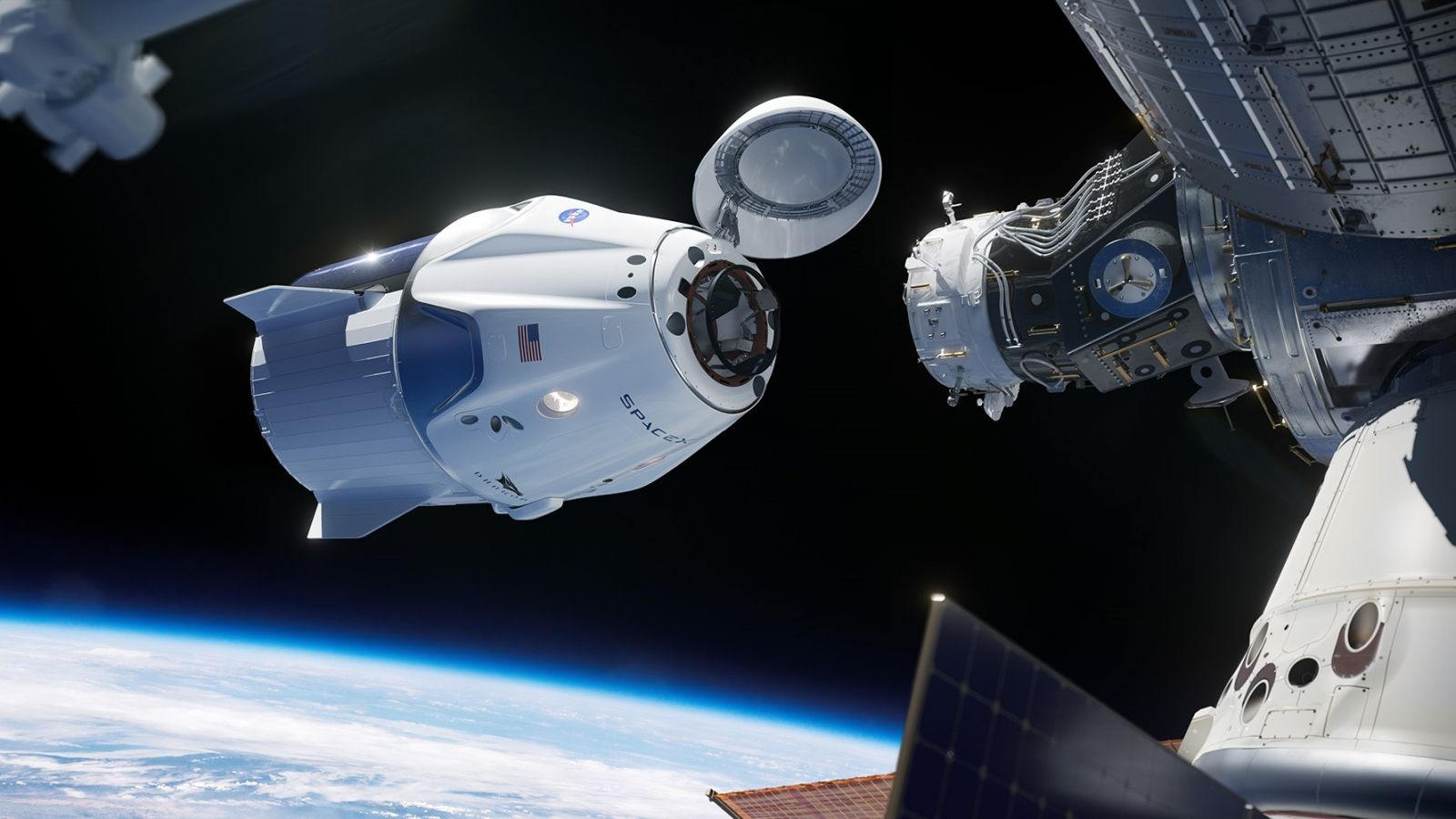 An artist's rendering of SpaceX's Crew Dragon spacecraft on final approach to the International Space Station. Image Credit: SpaceX