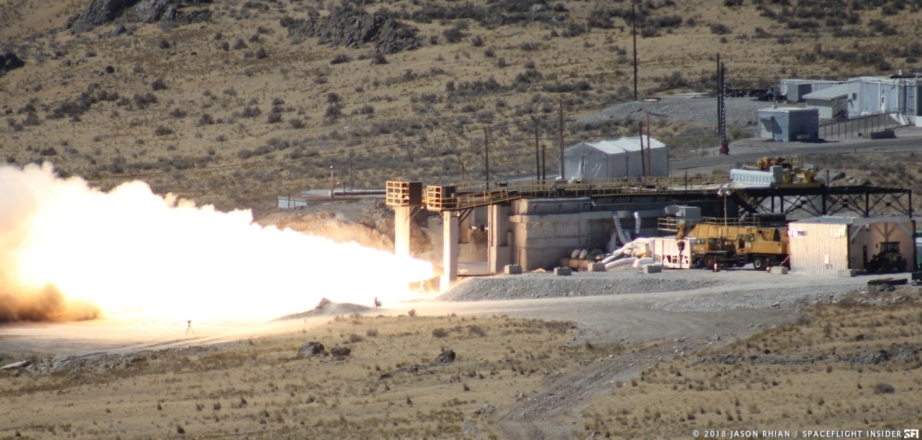 A test article of the GEM 63 solid rocket ignites for a 110-second long test on Thursday, Sept. 20, 2018. Photo Credit: Jason Rhian / SpaceFlight Insider