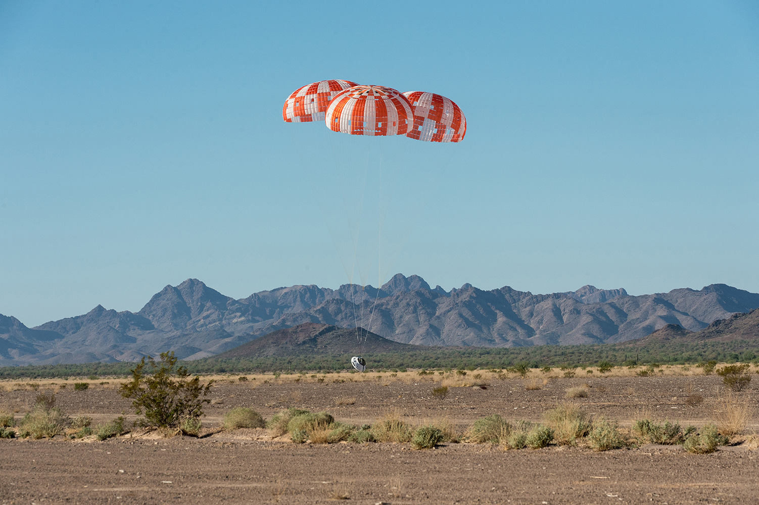The Orion spacecraft had its parachutes completed a series of eight tests on Wednesday, Sept. 12, 2018. Photo Credit: NASA
